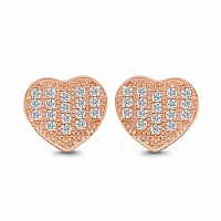 White Cubic Zirconia Rose Gold Plated Brass Heart Shape Earr
