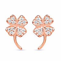 White Cubic Zirconia Rose Gold Plated Brass Floral Shape Ear
