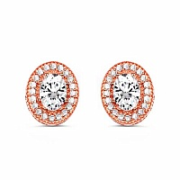 White Cubic Zirconia Rose Gold Plated Brass Oval Shape Earri