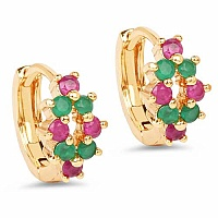 1.73 Grams Pink Glass & Green Glass Gold Plated Brass Earrin