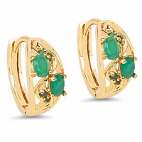 2.79 Grams Green Glass Gold Plated Brass Earrings