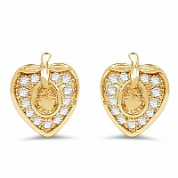 1.61 Grams White Cubic Zirconia Gold Plated Brass Heart Shap