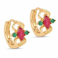 2.43 Grams Pink Glass & Green Glass Gold Plated Brass Earrin