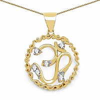 White Cubic Zirconia Gold Plated Brass OM Shape Pendant