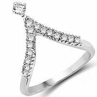 1.72 Grams White Cubic Zirconia Rhodium Plated Brass Ring
