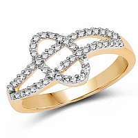 1.68 Grams White Cubic Zirconia Gold Plated Brass Ring
