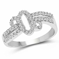 1.69 Grams White Cubic Zirconia Rhodium Plated Brass Ring