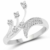 1.85 Grams White Cubic Zirconia Rhodium Plated Brass Ring