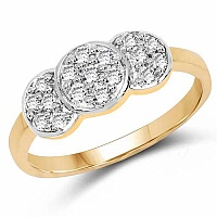 1.59 Grams White Cubic Zirconia Gold Plated Brass Ring