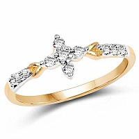 1.08 Grams White Cubic Zirconia Gold Plated Brass Ring