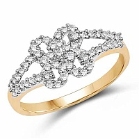 1.76 Grams White Cubic Zirconia Gold Plated Brass Ring