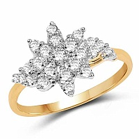 1.77 Grams White Cubic Zirconia Gold Plated Brass Ring