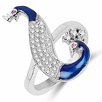 Pink Cubic Zirconia & White Cubic Zirconia Peacock Shape .92