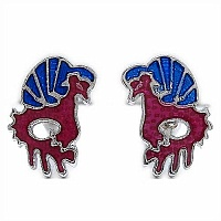 6.30 Grams Bird Shape Maroon & Blue Enamel Cufflinks