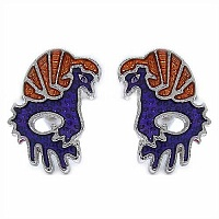 6.20 Grams Bird Shape Purple & Brown Enamel Cufflinks