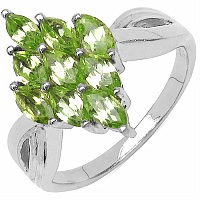 1.35CTW Genuine Peridot .925 Sterling Silver Ring