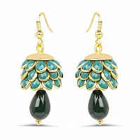 Green Pachi Gold Plated Brass Earrings