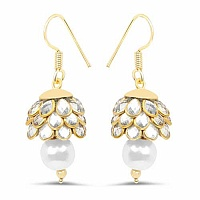 White Stone & White Synthetic Pearl Gold Plated Brass Pacchi