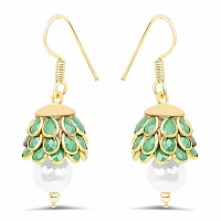 Green Stone & White Synthetic Pearl Gold Plated Brass Pacchi
