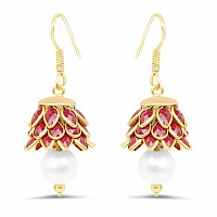 Red Stone & White Synthetic Pearl Gold Plated Brass Pacchi J